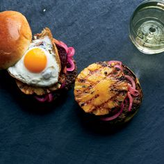 These great-looking, colorful burgers from star chef April Bloomfield are topped with an unlikely but delectable trio: grilled pineapple, pickled beets and fried eggs. Get the recipe at Food & Wine.