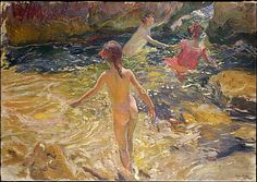 Joaquin Sorolla The Bath, Javea oil on canvas 1905 Paintings I Love, Painting Prints, Canvas Prints, Art Prints, Spanish Painters, Spanish Artists, Metropolitan Museum, Georgia O'keeffe, Art Database