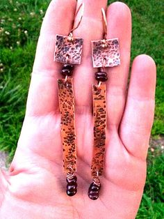 Oxidized copper drop earrings with red garnet by TheBeadedPaths, $22.00