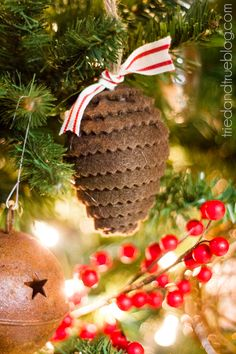 """All Hearts Go Home"" Christmas Tree Decorations - Pinecone Ornament"