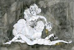 'Salome' by Jayoon Choi 2016  #emotion #relationship #drawing #ink #gold #erection #seduction #surrender  #mental #figurative #emotional #status #art #narrative #storytelling