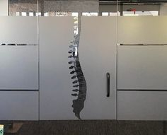 Using awesome decals throughout the office helps add interest to your space! #interiordesign #decals #chiropracticofficedesign