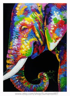 Colorful Elephant Painting on canvas Colorful Elephant, Elephant Art, Elephant Drawings, Fabric Painting, Painting Prints, Animal Paintings, Elephant Paintings, Kids Art Class, A Level Art