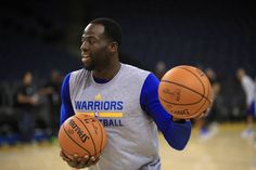 Draymond Green of the Golden State Warriors warms up during a practice for the 2017 NBA Finals at ORACLE Arena on May 31 2017 in Oakland California...