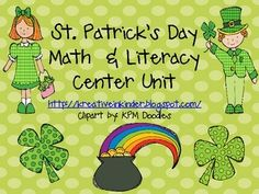 St. Patrick's Day Math and Literacy Center Unit! In this unit, you will find 57 pages of math and literacy center activities and printables, including: writing prompt, dice games, CVC words, counting games, time to the hour, skip counting by 5's and 10's, write the room, number order, and more! $