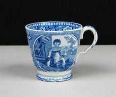 Hrníček na čaj * bílý porcelán ručně malovaný modrým obrázkem dítěte.