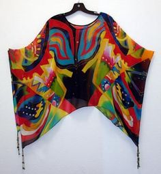 Fabulous hand panted silk poncho!