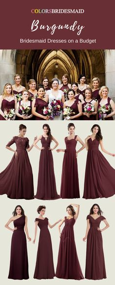These burgundy bridesmaid dresses are the most welcomed styles in a fall or winter wedding. They are all made of chiffon and sold under 100. They are all custom made to all sizes. How cheap and affordable these bridesmaid dresses are!
