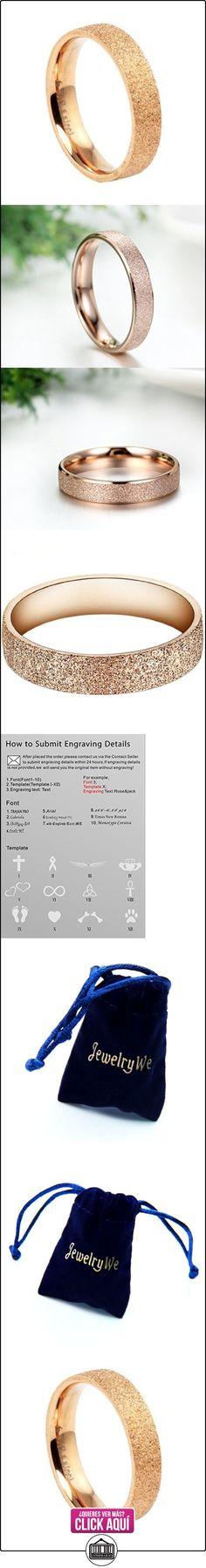 JewelryWe - Joyería 4mm ancho acero inoxidable damas anillo, dorado rosa arena pulido tamaño 54, anillos de compromiso, alianzas  ✿ Joyas para mujer - Las mejores ofertas ✿ ▬► Ver oferta: https://comprar.io/goto/B009P16LXU