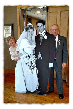 A 6' cutout wedding picture taken 50 years ago was a hit at our 50th Wedding Anniversary celebration!  Here's the site I ordered it from:  http://www.dreamscenesinc.com/products/Custom-life%252dsize-Standup.html