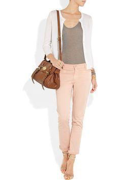 Mulberry Alexa leather bag NET-A-PORTER.COM  Kain top, J.Crew cardigan, Chan Luu bracelet and bracelet, Philippe Audibert cuff, Marc by Marc Jacobs ring,MiH jeans,Isabel Marant shoes.