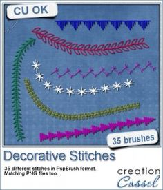 This set includes 35 different brushes for PSP to create decorative stitching. Vary the size, rotation, step if you want. Choose different colors to match your kit or your layout. You can also create a directional brush by adjusting the variances. Add texture, bevel and shadow for more realistic effect.