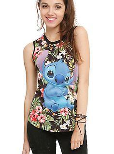 Disney Lilo & Stitch Floral Girls Muscle Top, BLACK