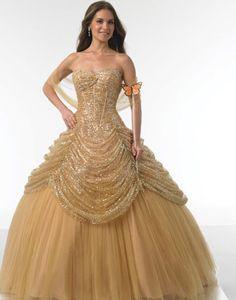 Mariposa gown. Taffeta. Sweetheart neckline. Open back. Curved basque waist. Gold.