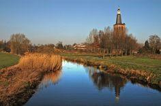The Netherlands - Sint-Oedenrode, river de Dommel, Church de Knoptoren.