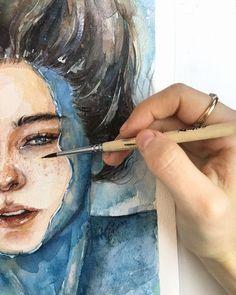 Ideas painting girl portrait watercolour for 2019 Watercolor Art Face, Watercolor Art Paintings, Watercolor Portraits, Artist Painting, Girl Artist, Lion Art, Portrait Images, Female Art, Artsy