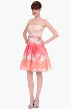 strapless watercolor dress