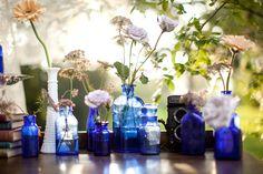 Vintage blue bottles