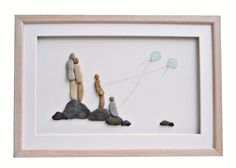 Family wall art, New home housewarming or anniversary gift idea, Pebble art family and flying kites, Nursery decor, Family framed art gift by PebbleArtDream on Etsy