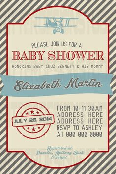 Old Vintage Airplane Baby Shower Invitation - Printable/Digital File