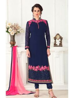 Enlightened Navy Blue and Pink Salwar suit