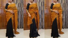 CUSTOMIZED SAREE CODE: TR908Saree of sandle shade selfprinted soft net kotta on the upper half and black linen jute on the lower worked with an antique border.The saree can be paired with a black plain or brocade bp .