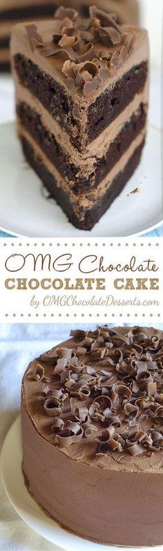 Check why is this cake called  OMG Chocolate Chocolate Cake! True pleasure for real chocoholic. Decadent Hershey chocolate cake.   OMGChocolateDesserts.com #chocolate #cake
