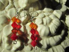 Red/orange color iridescent handcrafted Swarovski by Glitteredtoo.etsy.com