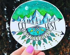 Get lost / travel decal / mountain sticker / mandala / wanderlust/ Pacific Northwest/