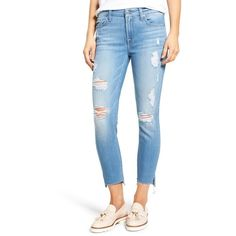 Women's 7 For All Mankind Step Hem Ankle Skinny Jeans ($219) ❤ liked on Polyvore featuring jeans, faded skinny jeans, faded blue skinny jeans, blue skinny jeans, 7 for all mankind and faded jeans