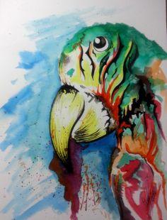 Papagaio II #watercolor #ecoline