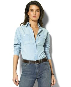 Lauren Jeans Co. Chambray Shirt | Macy's - This model is totally owning that shirt.