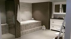 Betonbrick fliser 7,5x15 mud | Norfloor Alcove, Mud, Bathtub, Bathroom, Design, Standing Bath, Washroom, Bath Tub, Bathrooms