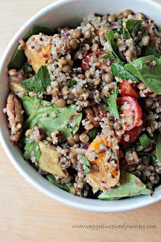 Lentil Quinoa Salad w Spinach and Citrus