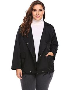 Product review for IN'VOLAND Women Plus Size Double-Breasted Trench Coat Jacket With Pockets.  - Material: 55% Terylene, 45% Chinlon Collar: Lapel Sleeve: Long Sleeve Clothing Length: Regular Pattern: Solid Decoration: Pockets Closure Type: Double-Breasted Occasion: Casual Season: Spring, Autumn Garment Care: Washing max 40°C, Hang to dry, Low max 110°C Women long sleeve lightweight j...