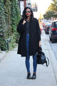 Balance tighter fitting and cropped pieces with an oversized coat @BabesInVelvet #LoveTheLook