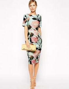 Enlarge ASOS Wiggle Dress in Textured Large Floral Print