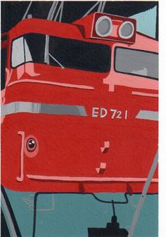 古い赤い電車。