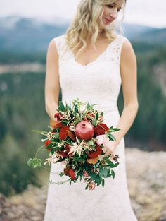 Incredible Bridal Bouquets with pomegranate