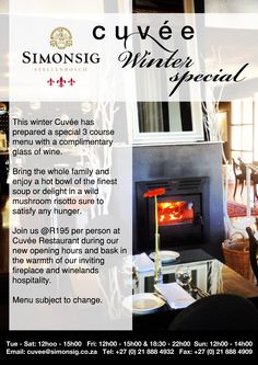 Online campaign marketing Simonsig Estate's latest restaurant special.