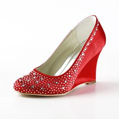 "Dyeable Glitter 3.5"" Rhinestones Almond Toe Wedges - Red Party shoes (11 colors)"