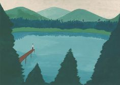 """At the lake"" by shohei morimoto, acrylic gouache, paper 297 x 420 mm 2012"