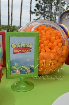 Cheese puffs, the perfect snack for a Toy Story party!  See more party ideas at CatchMyParty.com!  #partyideas #toystory