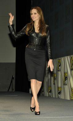 Angelina Jolie Leather Jacket - Angelina Jolie Clothes Lookbook - StyleBistro