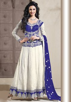 White and Blue Faux Georgette Abaya Style Churidar Kameez @ $93.21