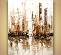Contemporary abstract city White Painting Modern Palette Knife Art by Osnat Abstract Tree Painting, Abstract City, City Painting, Acrylic Painting Canvas, Canvas Art, Knife Painting, Acrylic Art, Cityscape Art, Contemporary Abstract Art