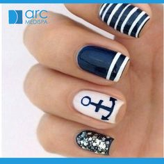 Nautical nail look for summer 2015!