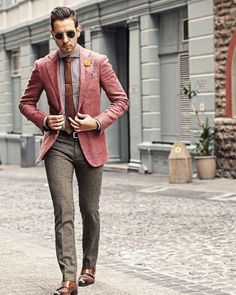 Salmon pink and gray suit