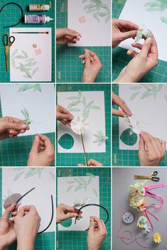 Paper Flower Headbands DIY   Oh Happy Day!