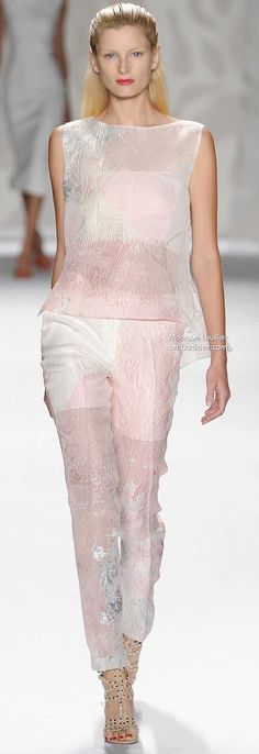 Matching Pink and White Pant and Blouse - Monique Lhuillier Spring 2014  New York Fashion Week NYFW